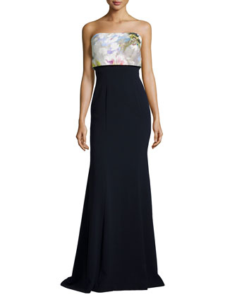 Strapless Flower Pop-Top Gown