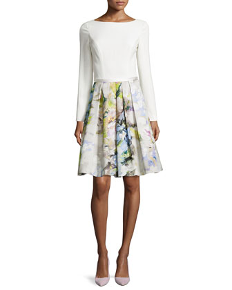Long-Sleeve Floral Pleated-Skirt Dress