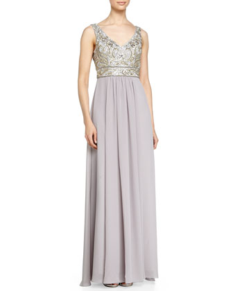 Sleeveless Embroidered Bodice & Chiffon Skirt Gown