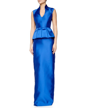 Sleeveless Peplum Column Gown