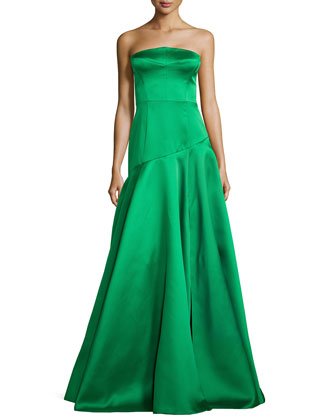 Strapless Dropped-Waist Full Ball Gown