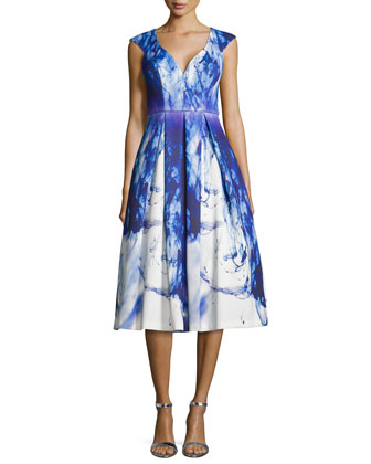 Cap-Sleeve Paintbrush-Print Cocktail Dress