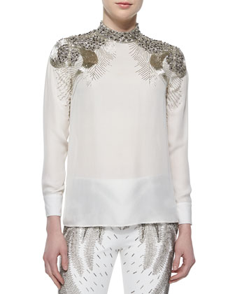 Beaded-Shoulder Silk Blouse