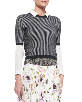 Patterned Cropped Short-Sleeve Sweater, The Husband Sheer Blouse & ...