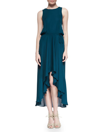 Cowl-Back Self-Tie Silk Dress