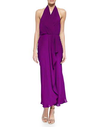 Silk Halter Wrap Dress, Amethyst