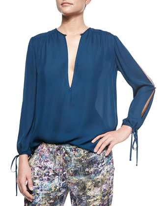 Long-Sleeve Split-Neck Peasant Blouse & Slim Shady Abstract-Print Pants