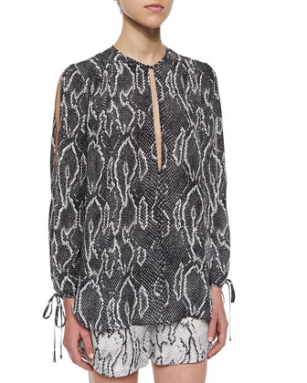 Snake-Print Split-Neck Peasant Blouse