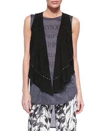Fringe-Detail Vest, Graphic-Print Sleeveless Tee, Le Skinny De Jeanne ...