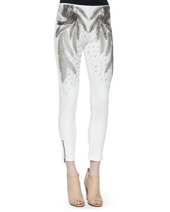 Beaded-Shoulder Silk Blouse & Beaded Feather-Pattern Skinny Pants