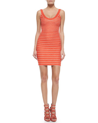 Indra Chevron-Textured Bandage Dress