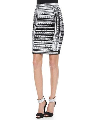 Abstract Brushstroke-Print Bandage Skirt