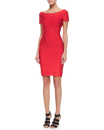 Scalloped Lace Boat-Neck Sheath Dress