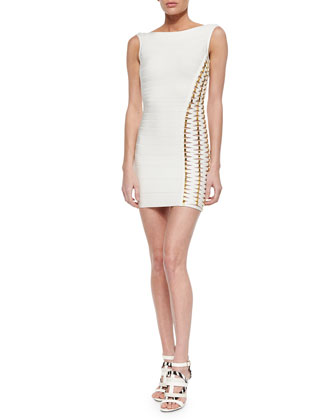 Beaded Lace-Up Bandage Dress