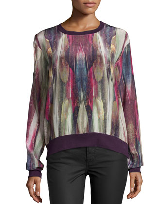 Mirrored Feather Long-Sleeve Top