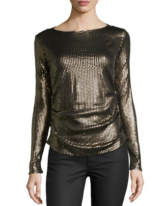 Long-Sleeve Sequined Top, Black/Gold