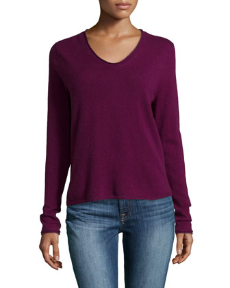 Long-Sleeve V-Neck Cashmere Sweater, Wine