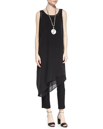 Sleeveless Asymmetric Knee-Length Dress, Silk Jersey Long Slim Camisole & ...