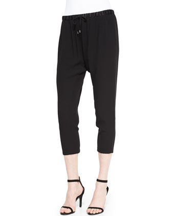 Georgette Crepe Cropped Slouchy Pants, Black, Women's