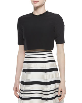 Ryker Embellished-Neck Crop Top, Black