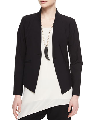 High-Back Wool Jacket, Silk Crepe de Chine Tank & Cropped Slouchy Pants ...