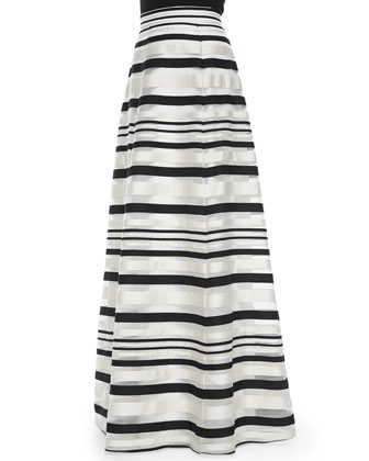 Zaniyah Striped Long Skirt, French Vanilla