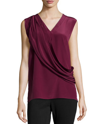 Liam Enzyme Washed Silk Draped Top, Burgundy