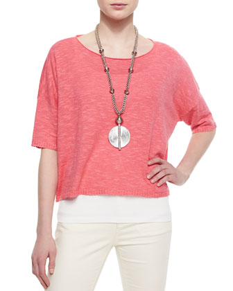 3/4-Sleeve Linen-Blend Short Box Top