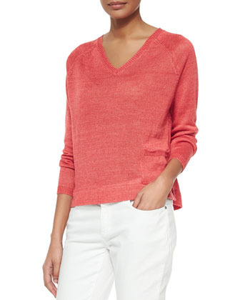 Long-Sleeve Linen Delave Box Top, Petite