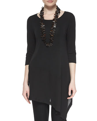 3/4-Sleeve Silk Jersey Asymmetric Top, Women's