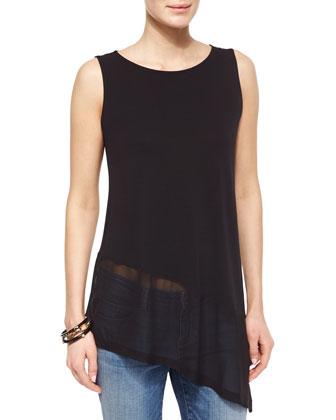 Silk Jersey Tank with Sheer Asymmetric Hem & Stretch Boyfriend Jeans