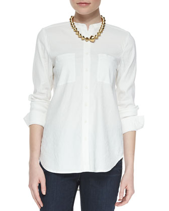 Mandarin-Collar Button-Front Shirt & Organic Soft Stretch Skinny Jeans, Women's