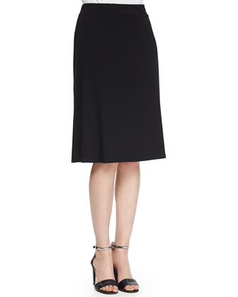 Long Draped Back Tee & Knee-Length Flared Skirt