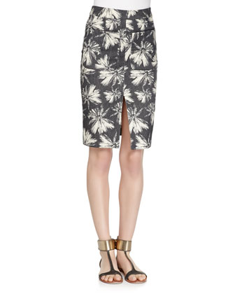 Palm-Tree-Print Denim Pencil Skirt