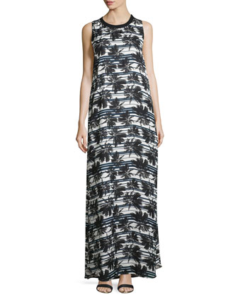 Long Striped Palm Tree-Print Dress, Midnight Stripe