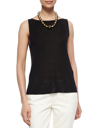 Sleeveless Linen-Blend Shell, Petite
