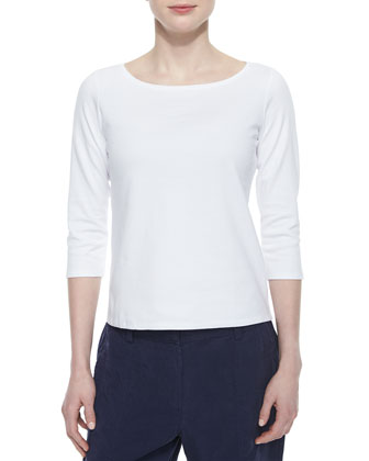 3/4-Sleeve Cotton Tee & Twill Button-Cuff Ankle Pants, Women's