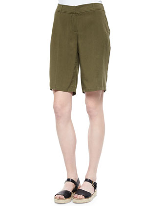 Slubby 3/4-Sleeve Tee & Twill Long Shorts