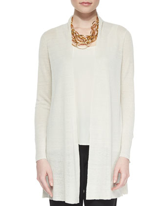 Straight Long Washable Crepe Cardigan