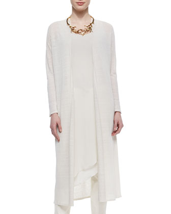Washable Linen Crepe Maxi Cardigan, Sleeveless Asymmetric Knee-Length Dress ...