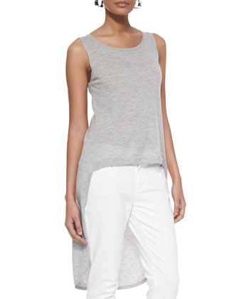 Sleeveless High-Low Cashmere Tank & Organic Skinny Ankle Jeans