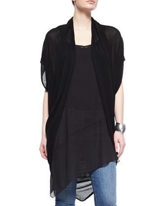 Ethereal Short-Sleeve Draped Cardigan, Sheer Silk Asymmetric Tunic/Dress & ...