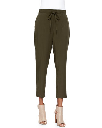 Slouchy Drawstring Ankle Pants, Surplus