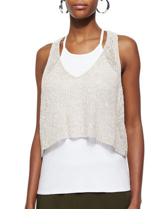 Organic Melange Linen Grain-Stitch Crop Top