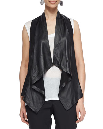 Drapey Leather Combo Vest, Sleeveless Sheer Jersey Tank & Tropical Ankle ...