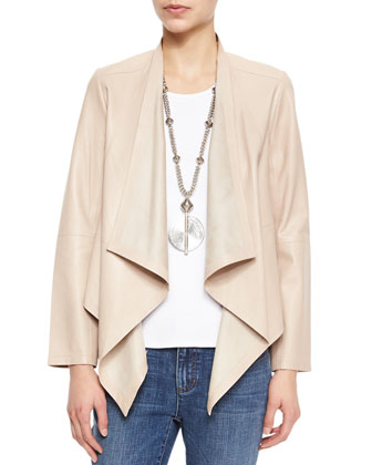 Draped-Front Leather Jacket