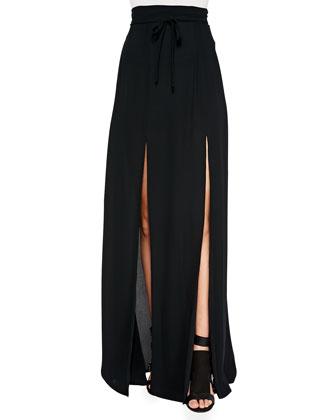 Long Double-Slit Skirt, Black