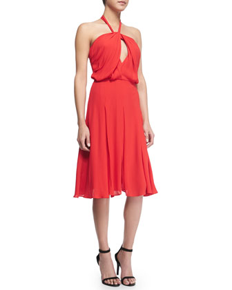 Cutout-Front Swingy Halter Dress