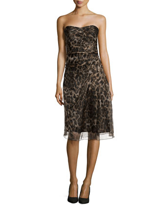 Strapless Leopard-Print Dress