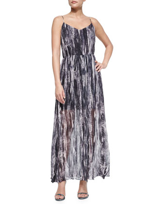 Painted Wave Silk Maxi Dress